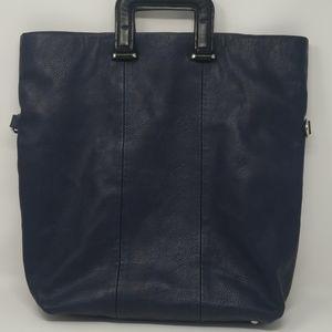 Zara Trafaluc Blue Faux Leather Bag Laptop